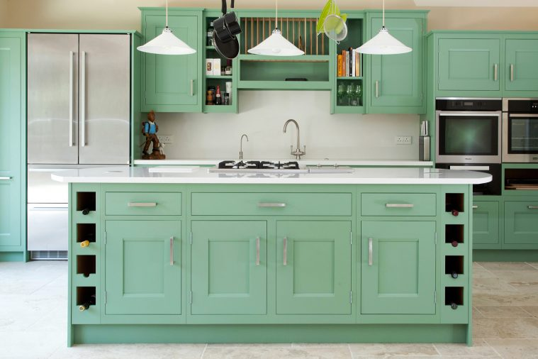 A Traditional In-frame Kitchen In A Vibrant Green Colour