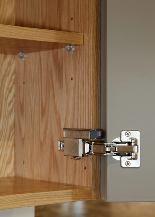A close up of a lay-on kitchen cabinet showing the hidden Blum hinges