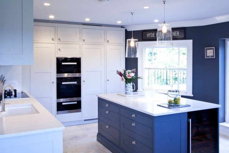 A modern shaker style kitchen in fresh white and blue